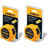 Komelon 4912IM The Professional 12-Foot Inch/Metric Scale Power Tape, Yellow - 2 Pack