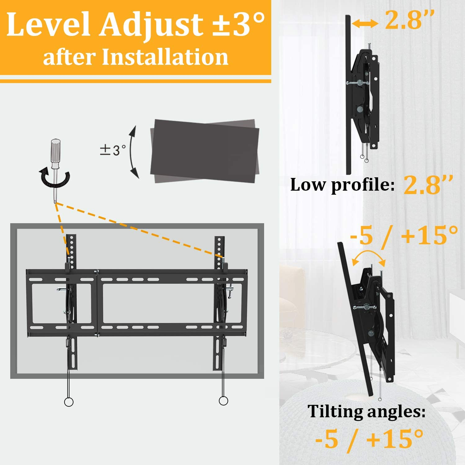 Tilting TV Wall Mount Bracket for Most 40-90 Inch Flat Large Screen TV JUSTSTONE Low Profile Wall TV Mount Fits 16-24 Inch Wood Studs Max VESA 800x400mm (32