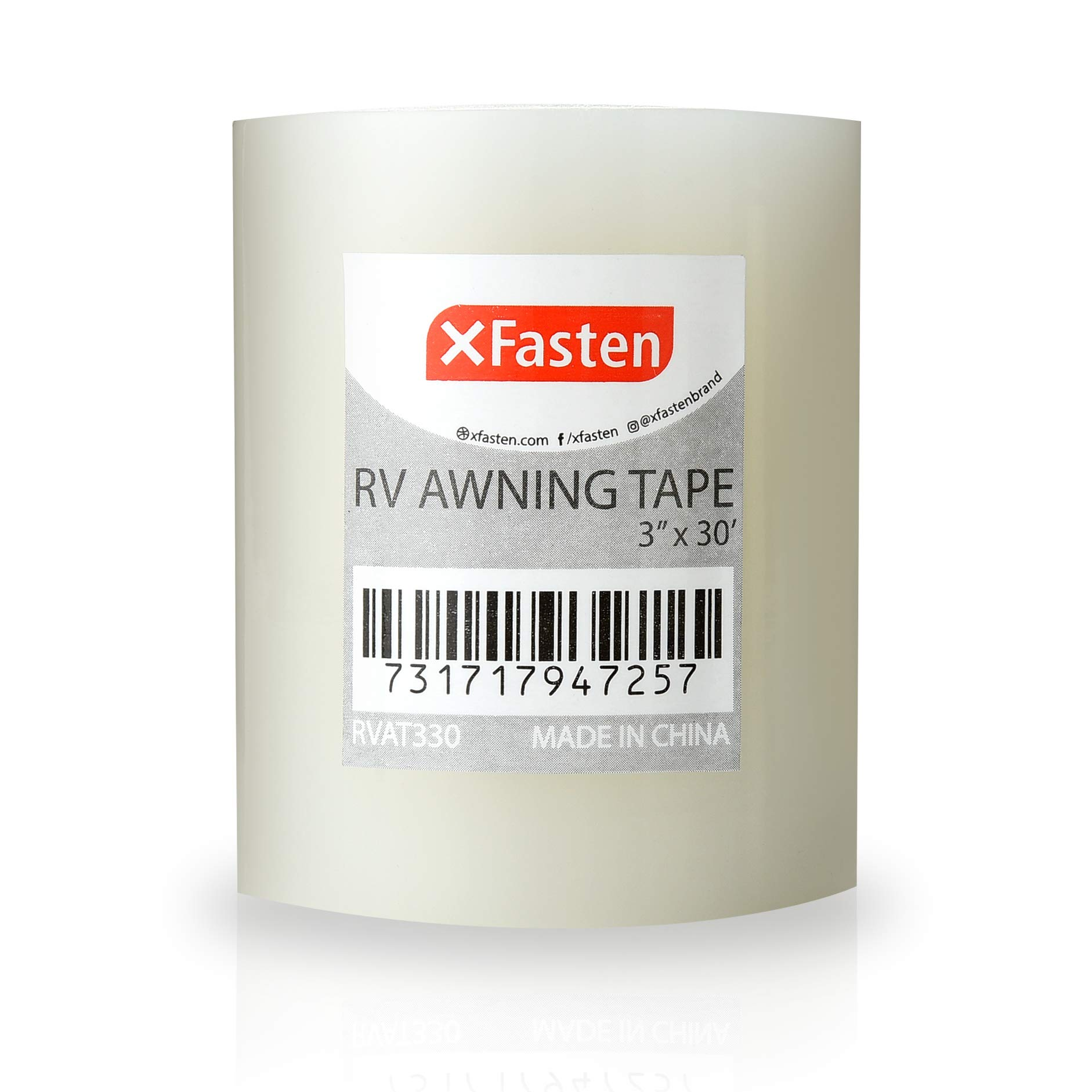 XFasten RV Awning Repair Tape, 3-Inches x 30 Feet, Waterproof Rip Stop Patch for Vinyl, RV punctures, Camper, Awning, Canopy, Tents, Tarpaulin and Greenhouse by XFasten