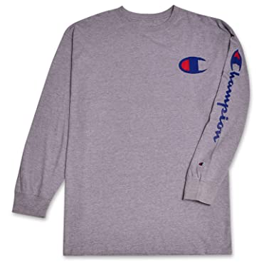 61cb1f3a Champion Mens Big and Tall Long Sleeve Lightweight Jersey Crewneck T-Shirt  Heather Grey XLT