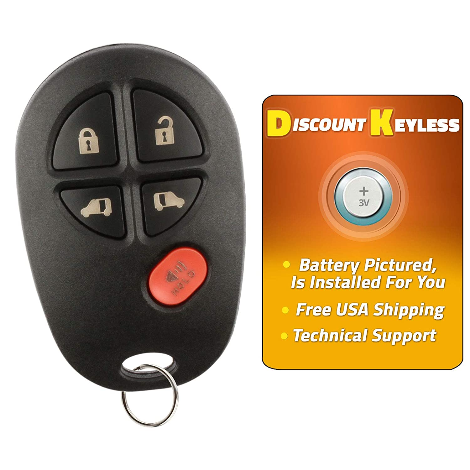 Discount Keyless Replacement Van Door Key Fob Car Entry Remote For Toyota Sienna GQ43VT20T 2 Pack