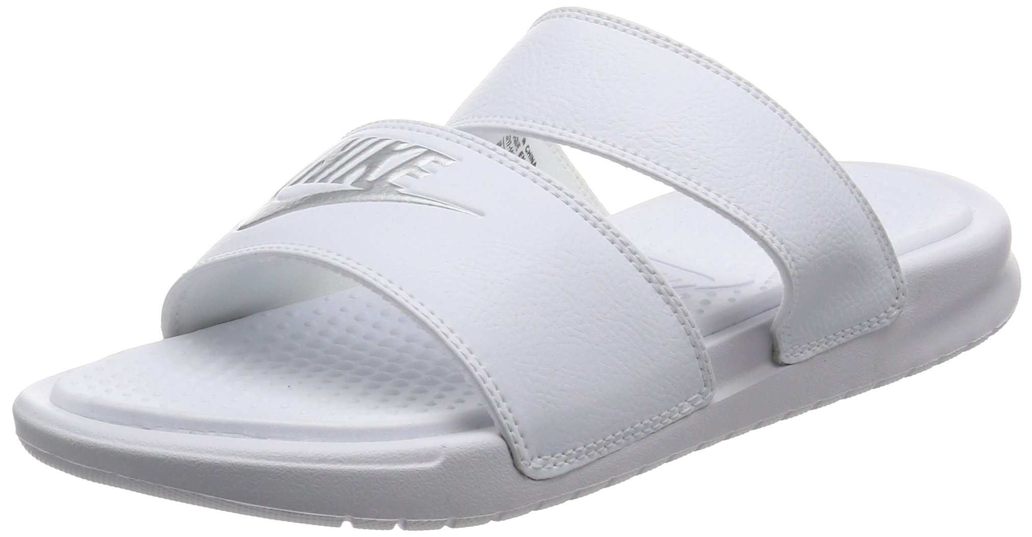 c7017521f99 Galleon - Nike Women s Benassi Duo Ultra Slide Sandal  819717-100 (8) White Metallic  Silver