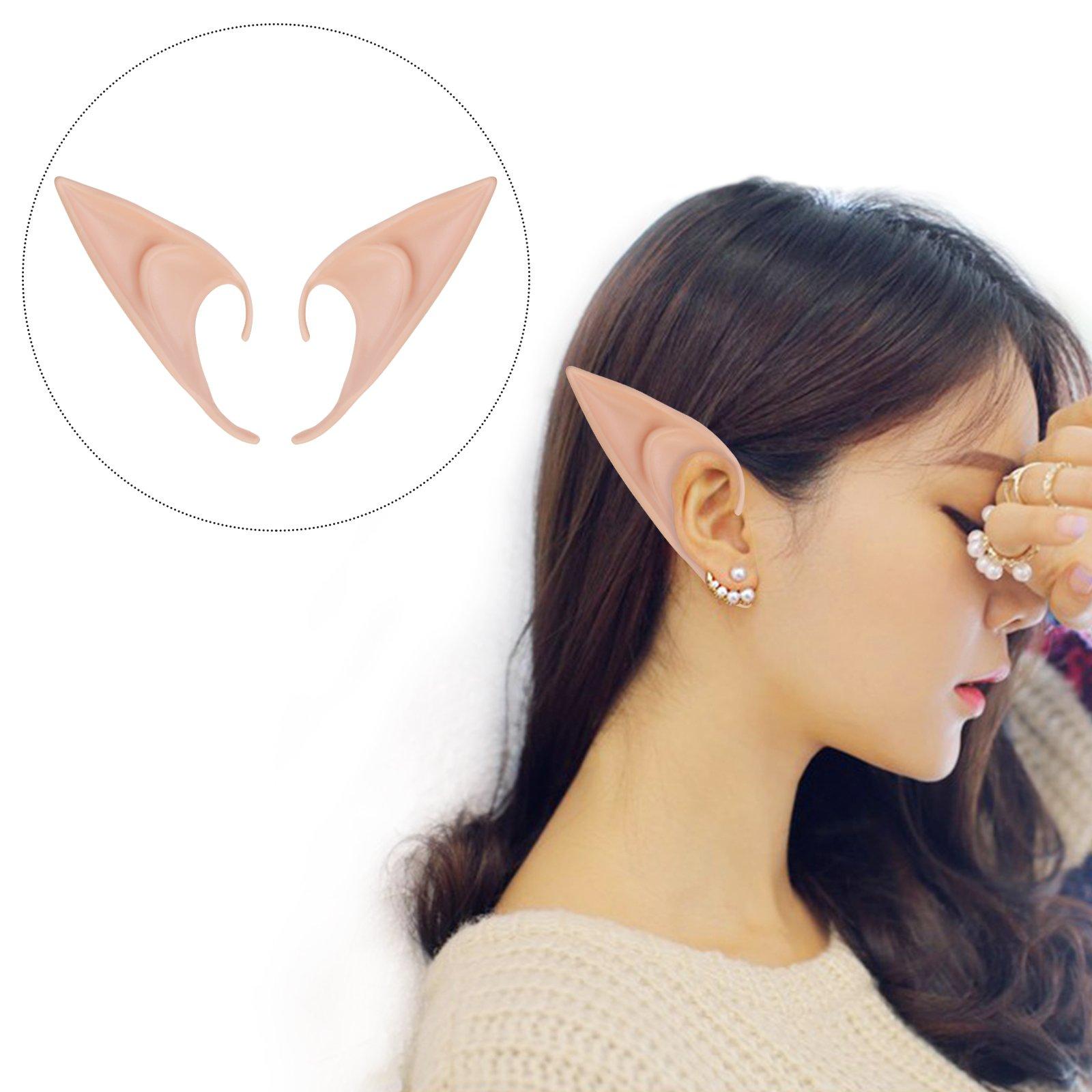 LANMOK 2pair Latex Elf Fairy Ears for Anime Hobbit Cosplay Halloween Party Decor