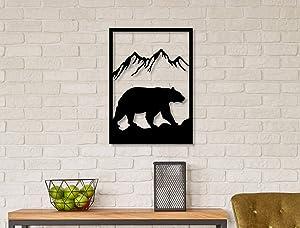 Ditcowest FEBROS/Metal Wall Art Bear in Wild/Geometric Metal Wall Art/Home Decor Wall/Modern Metal Art/Wall Signs/Bedroom, Living Room Wall Decoration.