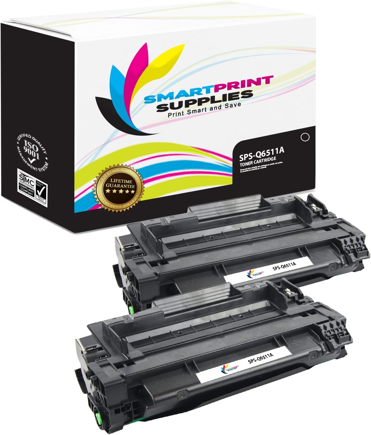 Smart Print Supplies Compatible 11A Q6511A Black Toner Cartridge Replacement for HP Laserjet 2400 2420 2430 Printers (6,000 Pages) - 2 Pack