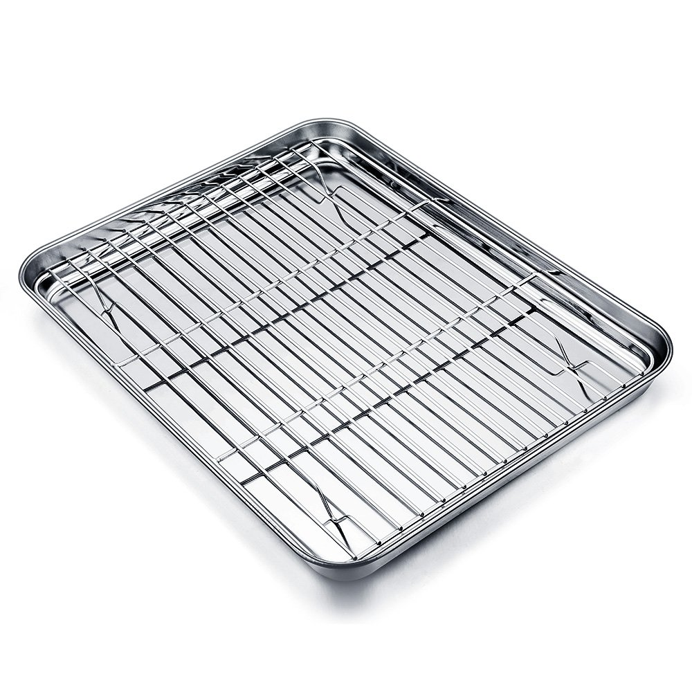 TeamFar Baking Tray and Rack Set, Stainless Steel Baking Pan Cookie Sheet with Cooling Rack, 12 x 10 x 1 inch, Non Toxic & Healthy, Easy Clean & Dishwasher Safe SYNCHKG105596