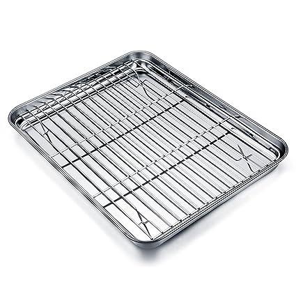 TeamFar - Mini bandeja de horno con rejilla de acero inoxidable, bandeja de horno de acero inoxidable para horno y grill. Con rejilla para enfriar. ...