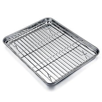 TeamFar - Mini bandeja de horno con rejilla de acero inoxidable, bandeja de horno de