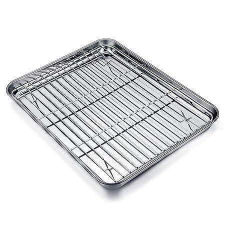 TeamFar - Mini bandeja de horno con rejilla de acero inoxidable ...