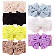 7pcs Baby Girl Headbands Newborn Infant Toddler Hairbands and Bows knotted Soft Headwrap Child Hair Accessories (SM08)