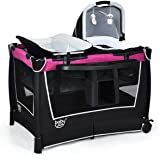 BABY JOY 4 in 1 Portable Baby Playard with Bassinet, Changing Table, Foldable Bassinet Bed & Activity Center, Newborn Napper with Toys & Music, Large Capacity Storage Shelf, Oxford Carry Bag (Rose)