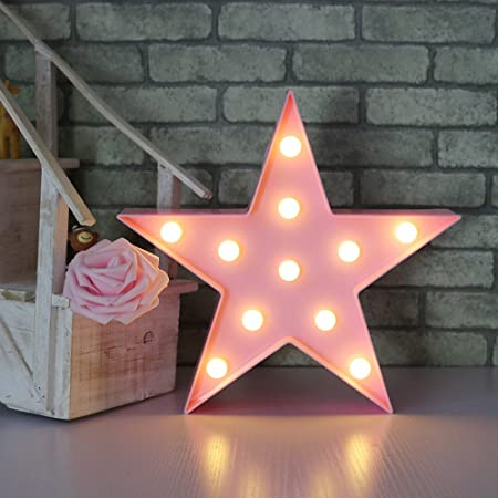 Letters Light Star Shape LED Night Light Marquee Light Battery ...