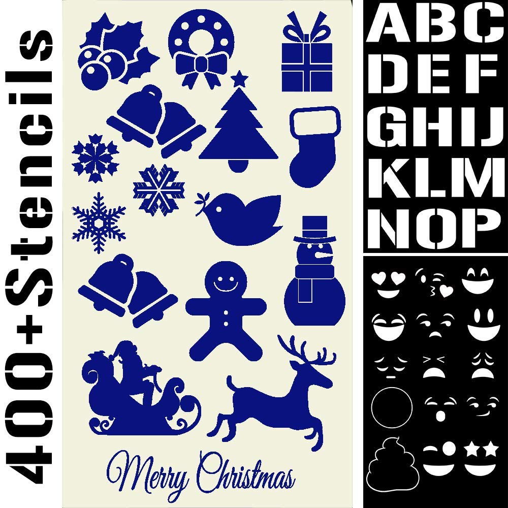 400 Stencils Set Alphabet Letters Numbers for Art and Craft, Christmas Cards, Face Paint, Bullet Journal Writing, Doodle Drawing, Decorate Fabric Wood Rock Glass - Reusable Stencil 20 Sheets 4x7 inch by Mosaiz