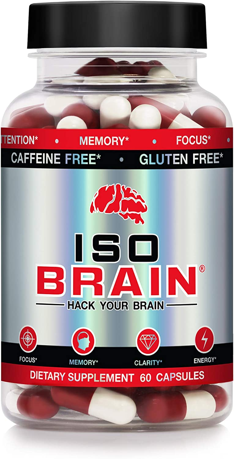 Iso Brain – 30 Day Supply – Stimulant Free – Memory, Focus, Mood, Attention, Clarity, Cognitive Function – Advanced Nootropic Brain Supplement – Now with Cognizin Citicoline Choline Blended Supplement