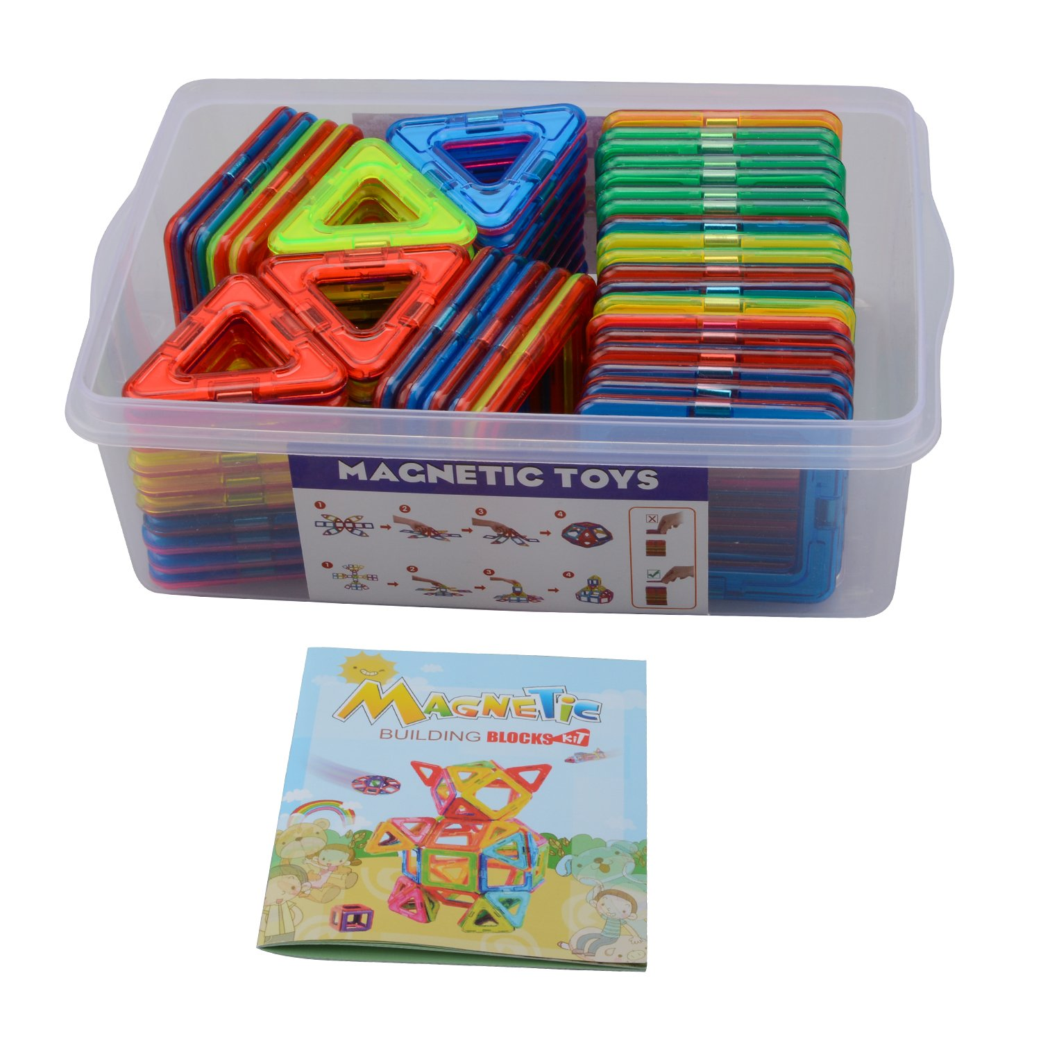 Large Size Magnetic Tiles Set, Akyhoo Magnetic Blocks Building Toys for Boys and Girls, 3D Building Blocks Construction Set, 68 Piece