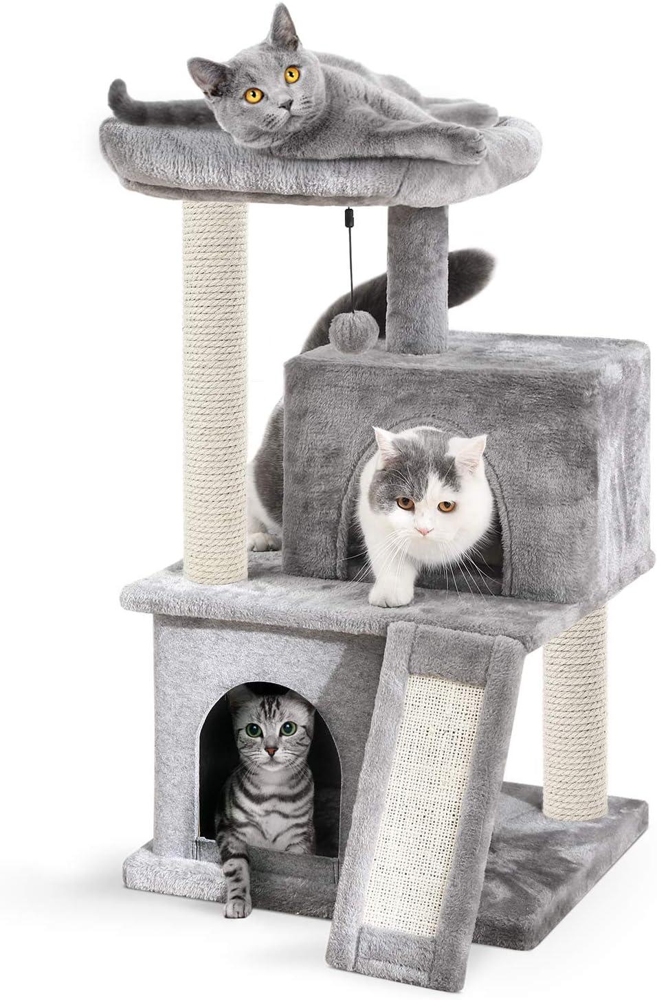 Eono by Amazon Árboles para Gatos rasguña los Postes de sisal Natural con Bola de Juguetes para Dormir de Nido Gris