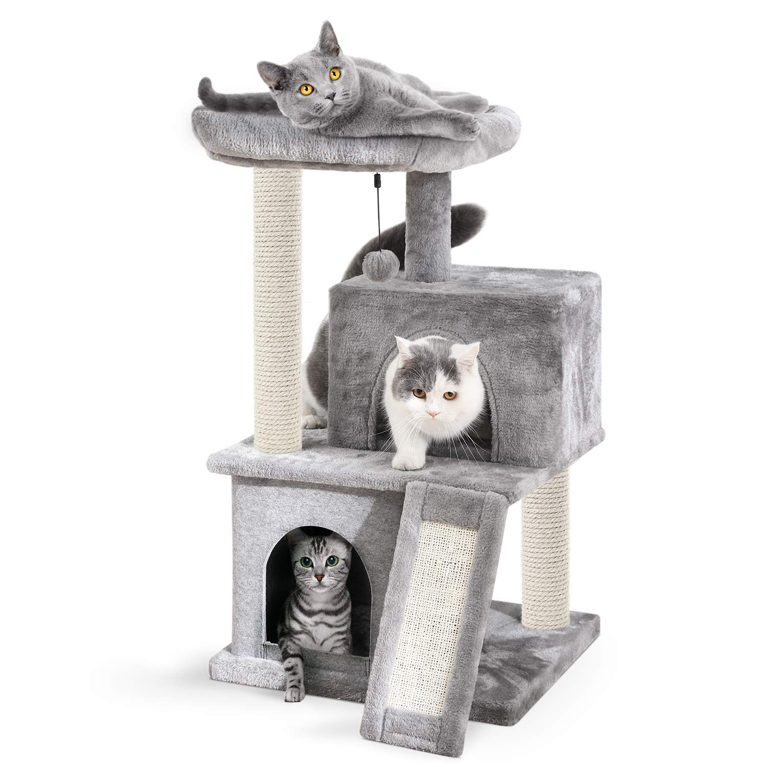 Eono Essentials Cat Tree Sisal Scratching Post Kitten Furniture Plush Condo Playhouse with Dangling Toys Cats Activity Centre Grey
