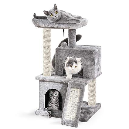 Eono Essentials Árboles para Gatos rasguña los Postes de sisal Natural con Bola de Juguetes para