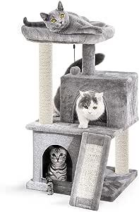 Eono by Amazon Árboles para Gatos rasguña los Postes de sisal Natural con Bola de Juguetes para Dormir de Nido Gris: Amazon.es: Productos para mascotas