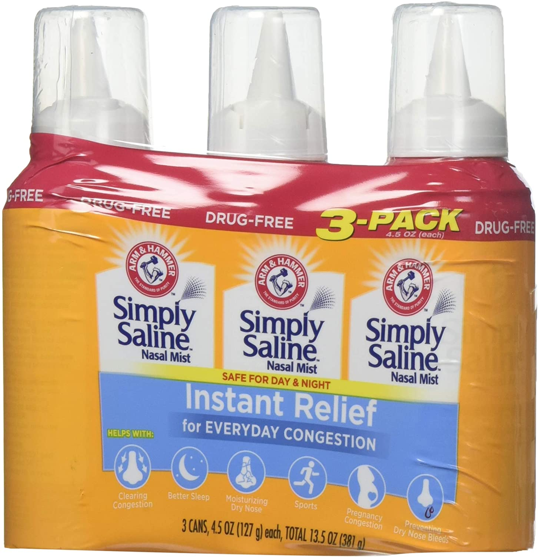 Arm & Hammer Simply Saline Nasal Relief Mist Spray- Giant Size - 4.25 FL OZ Per Bottle (3 Bottles)