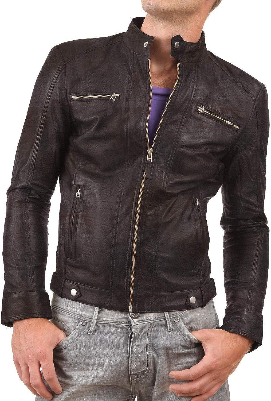 1510275 Lasumisura Mens Black Genuine Lambskin Leather Jacket