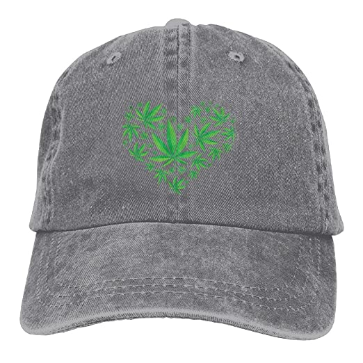 851c88fafce Amazon.com  NEW FACUP Heart Marijuana Leaf Weed Love Pot Unisex Washed  Twill Cotton Baseball Cap Vintage Adjustable Hat  Clothing