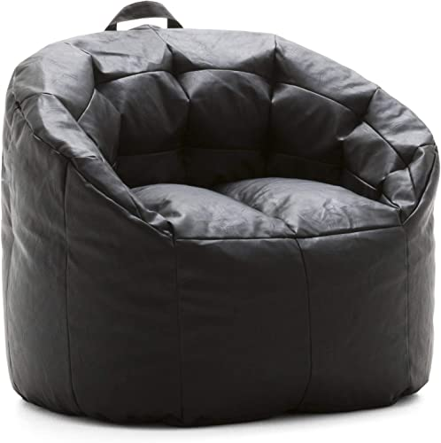 Big Joe Lux Siena, Montana Leather Black Bean Bag