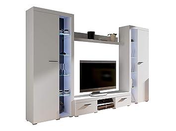 Wohnwand Rango Xl Modernes Wohnzimmer Set Design Anbauwand Schrankwand Mediawand Vitrine Tv Lowboard Weiss Ohne Beleuchtung