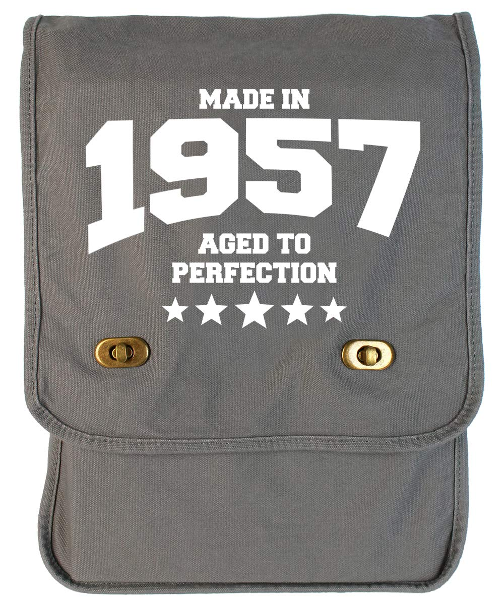Tenacitee Athletic Aged to Perfection 1957 Grey Brushed Canvas Messenger Bag