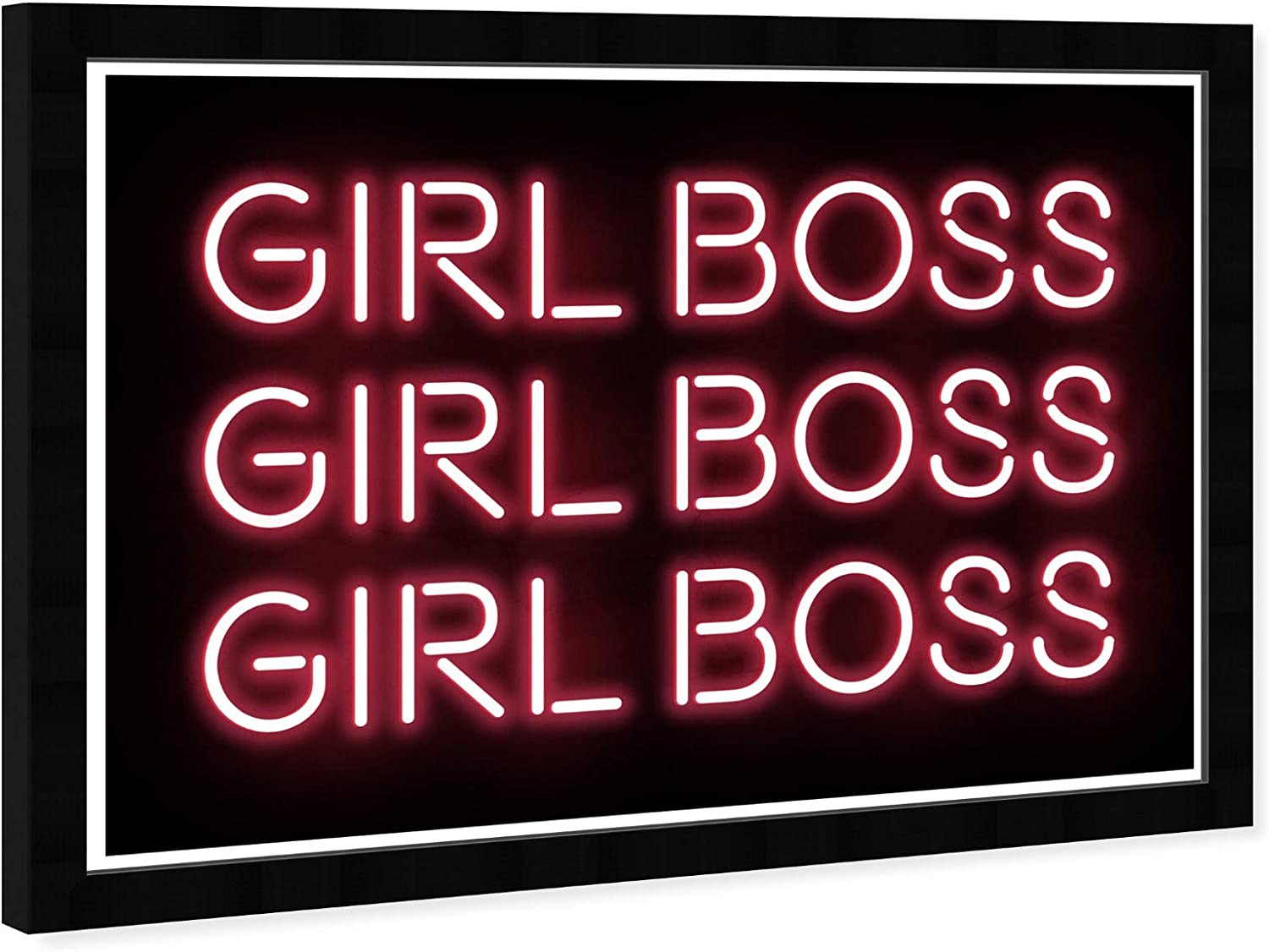Amazon Com Wynwood Studio Typography Wall Art Framed Prints Girl Boss Neon Empowered Women Quotes And Sayings Home Decor 19 X 13 Pink Black Posters Prints