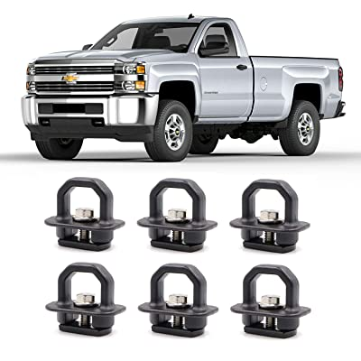 AEagle 1000 Pound Truck Bed Side Wall Tie Down Anchors, Hook Rings for 2007-2020 Chevrolet Silverdo/2015-2020 Colorado, 2007-2020 GMC Sierra/2015-2020 Canyon (6 Pcs): Automotive