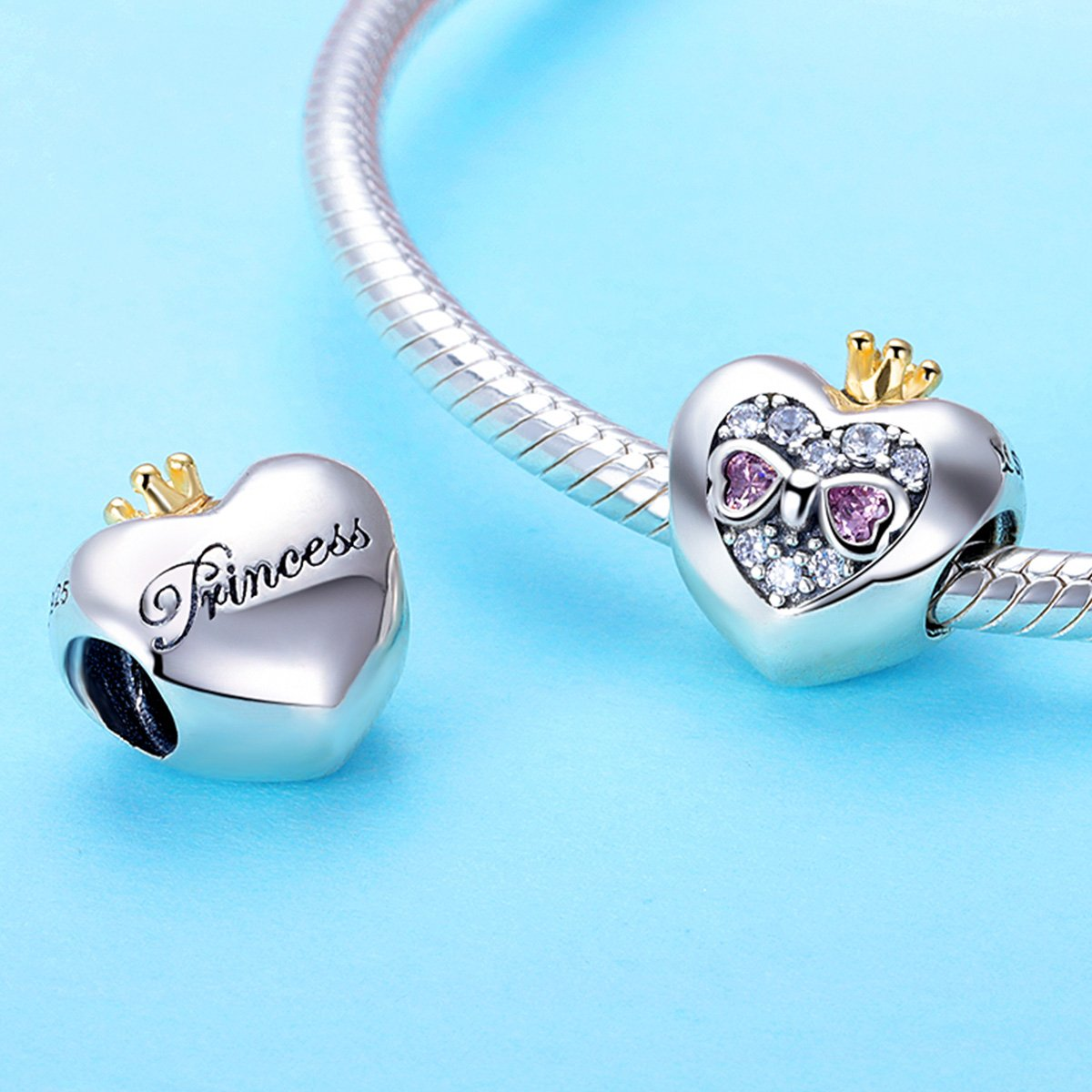 BAMOER Sterling Silver Heart of Princess Love CZ Bead Charm for DIY Snake Chain Bracelet by BAMOER (Image #4)