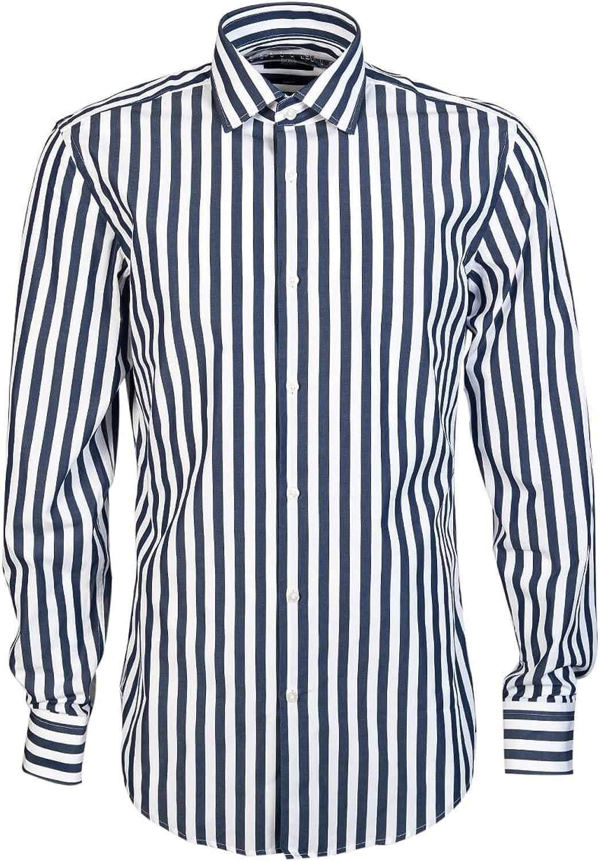 BOSS Hugo Negro para Hombre Dwayne Camisa, Slim Fit Azul Oscuro con Rayas Verticales Azul Azul 45: Amazon.es: Ropa y accesorios