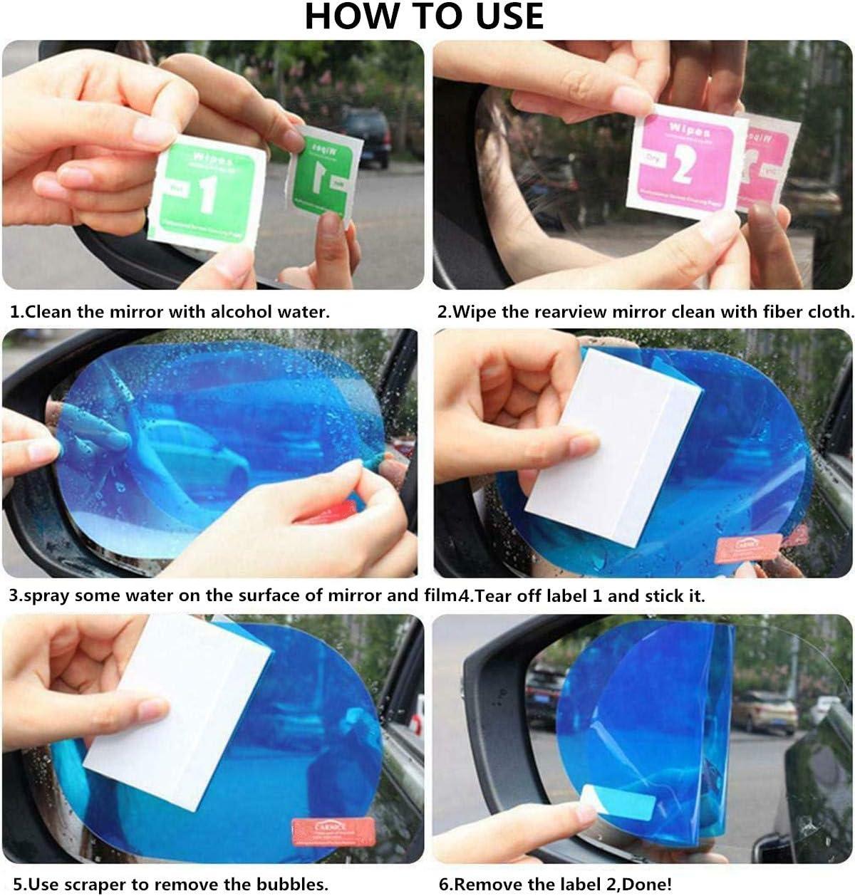 23GUANYI Lot de 6 films de r/étroviseurs pour voiture HD Nano Film anti-bu/ée R/ésistant /à leau R/ésistant /à la pluie Miroir Film de fen/être Transparent Autocollant Conduite s/ûre