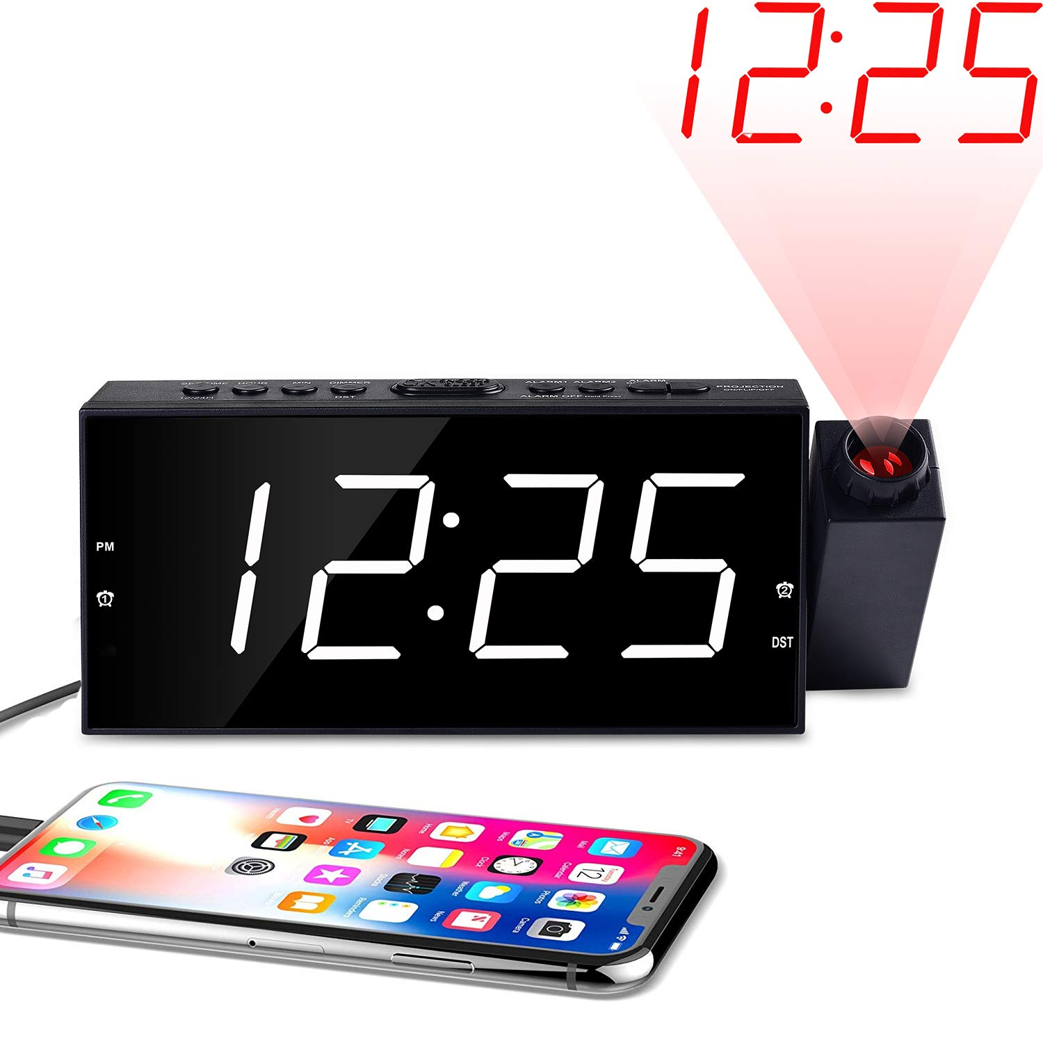 """Kitchen 7/"""" LED Digital Desk//Shelf Clock with Dimmer OnLyee Projection Ceiling Wall Clock USB Charging Kids AC Powered and Battery Backup for Bedroom Alarm Clock"""
