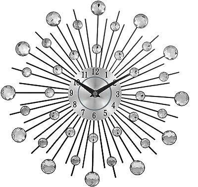 Amazon Com Bazaar 3d Wall Clock Diamante Beaded Rhinestones Mute