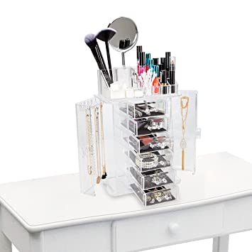 Amazoncom ClosetMate Clear Acrylic Jewelry Makeup Organizer Set