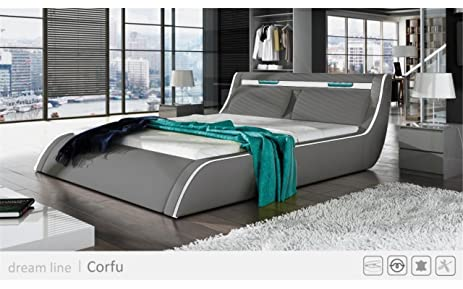 modern platform bed with lights. GO-CORFY (King, Light Grey) Modern Platform Bed With Storage And Multi Lights