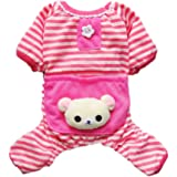 Petparty Cute Bear Comfy Dog Pajams Dog Shirt Stripes Dog Jumpsuit Pet Dog Clothes