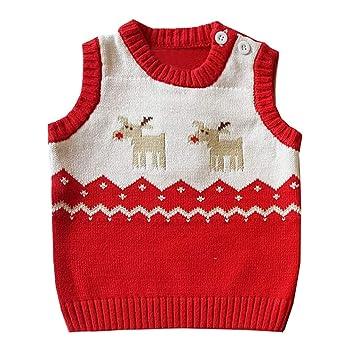 04ecc63ffa3b Kids Boys Christmas Deer Knit Button Down Sweater Vests