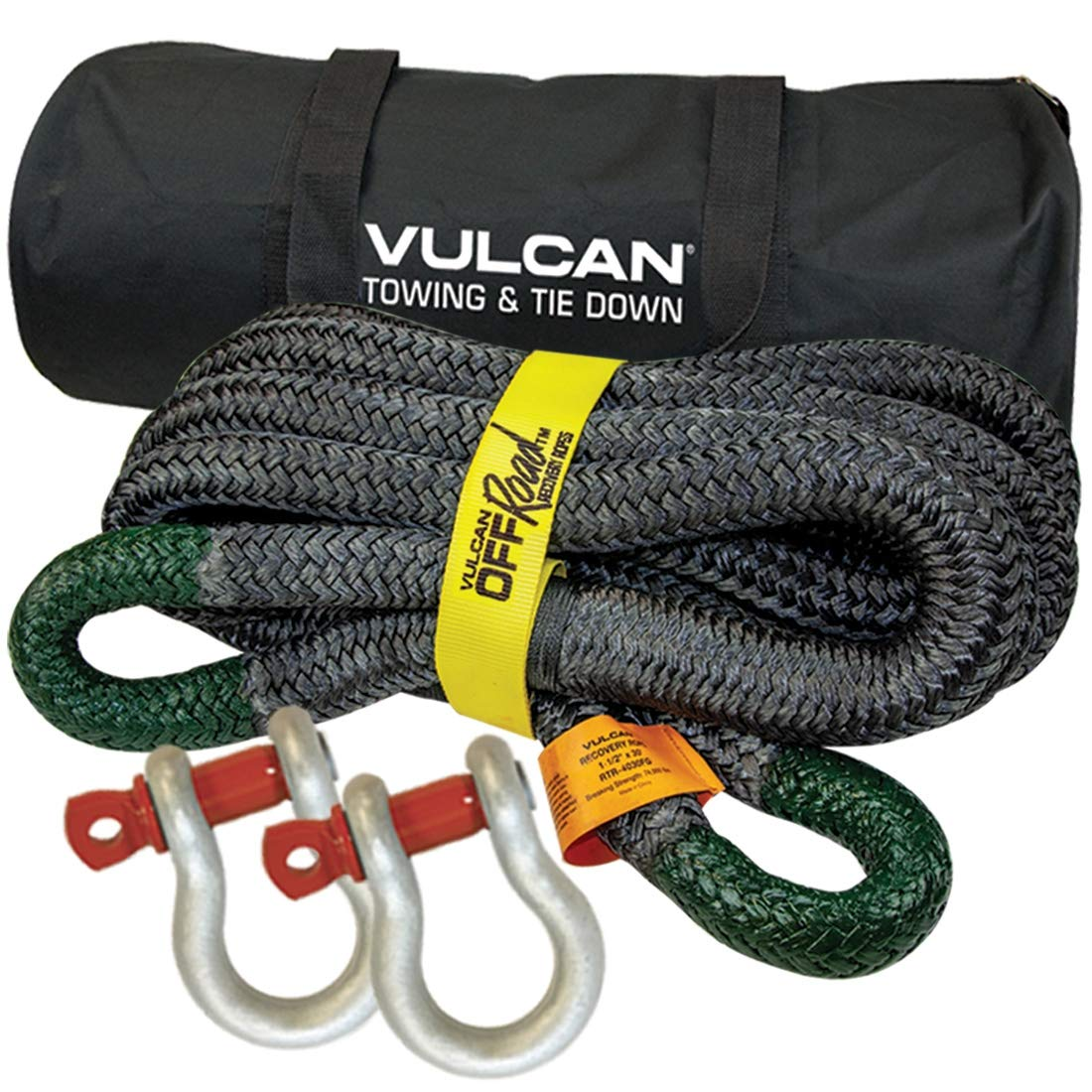 Vulcan 1-1/2'' x 30' Off-Road Double Braided Recovery Rope Kit w/Rope, Two Shackles and Vented Storage Bag - 74,000 lbs. Breaking Strength - Green, Black by Vulcan