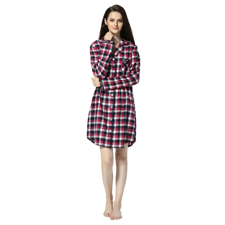 Women's Plaid Flannel Shirt Dress Blouse Mid-Long Style Boyfriend Plaid Sleepshirt (S, Red Plaid)