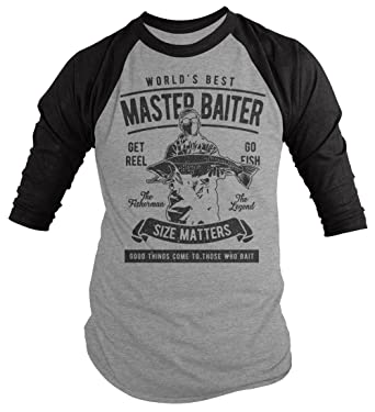 7d57a4b3 Amazon.com: Shirts By Sarah Men's Funny Fishing World's Best Master Baiter 3 /4 Sleeve Raglan: Clothing
