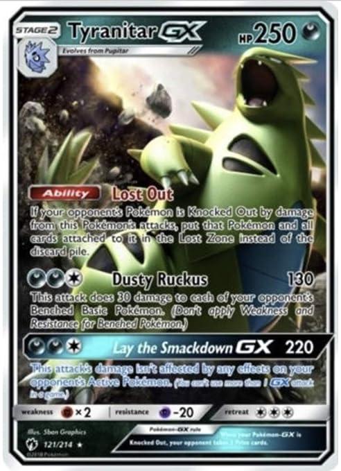203//214 Pokemon- SM8 Lost Thunder Ultra Rare Tyranitar GX Full A.-  NM//M