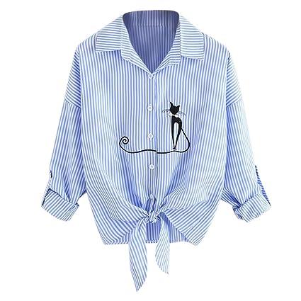 Mujer blusa otoño,Sonnena ❤ Camisa de dobladillo anudada gato bordado de las mujeres