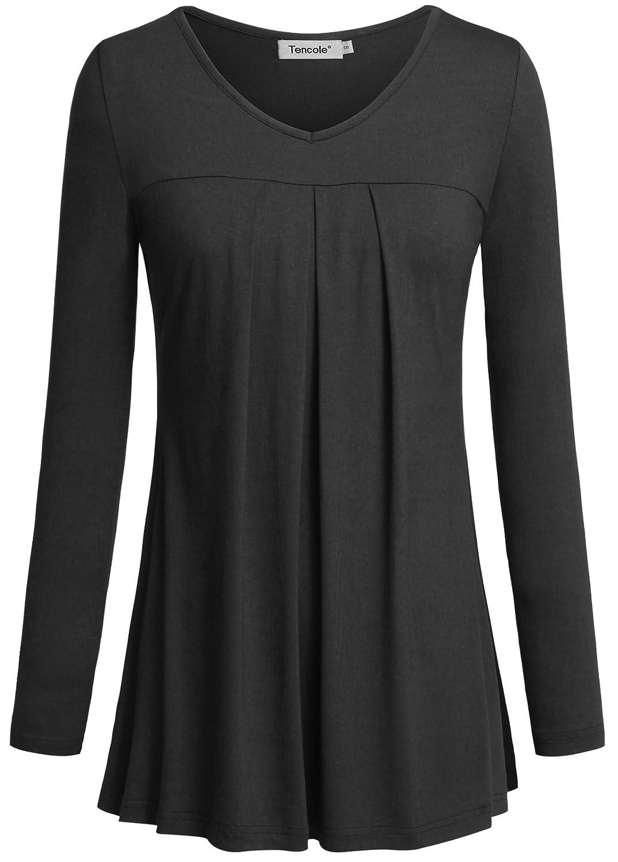 Black Tencole Women Long Sleeves Sweatheart Neckline Pleated Front Casual Tunic Tops