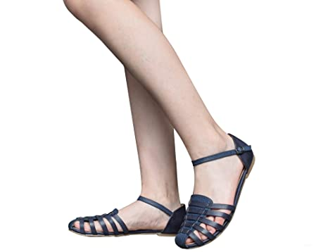 57aaab63746a72 MaxMuxun Womens Roman Ankle Strap Cage Closed Toe Navy Flat Sandals Size 8   Amazon.com.au  Toys   Games
