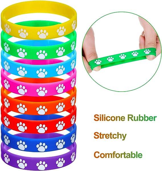 PEACE SYMBOL Printed Multi-color Silicone Wristband Bracelet Stretchable 5 PC