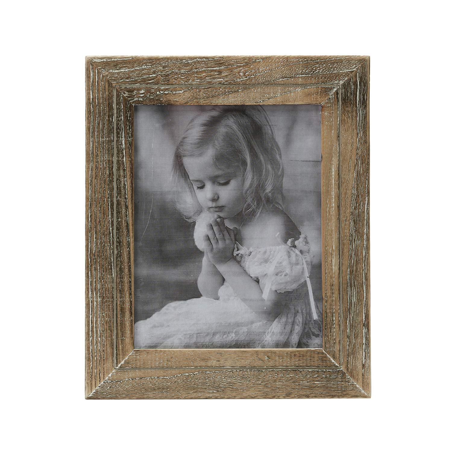 Faunlife 5x7 Rustic Shabby Chic Weathered Distressed Vintage Style Wooden Picture Frame with Self-Stand Easel Horizontally or Vertically on The Tabletop by Faunlife