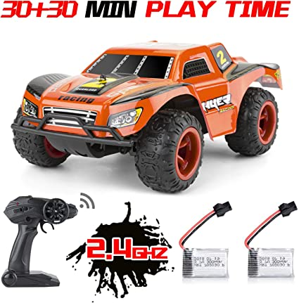 Amazon Com Rc Cars For Kids 2 Rechargeable Batteries 40mins Play Time 2 4 Ghz Remote Control Off Road Monster Rc Trucks Waterproof High Speed 20km H 1 22 Scale Rc Car Best Toys
